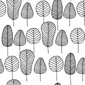 Vector Doodle Seamless Pattern With Black Colorless Skeleton Leaves On White Background. Hand Drawn  poster
