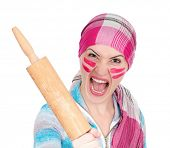 Mad housewife with rolling pin on white background