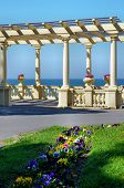 foto of pergola  - Garden with flowers and a pergola near the sea - JPG