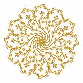 Golden Vintage Ornament, Baroque Ornament, Scroll Ornament, Engraving Border Ornament, Floral Orname poster