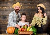 Harvest Festival Concept. Family Farmers With Harvest Wooden Background. Family Rustic Style Farmers poster