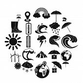 Climate Icons Set. Simple Set Of 25 Climate Vector Icons For Web Isolated On White Background poster