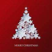 Abstract Background With Xmas Tree Made Of Volumetric Paper Snowflakes. White 3d Snowflakes With Sha poster