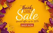 Thanksgiving Day Sale Banner Template. Autumn Paper Tree Leaves, Yellow Background. Autumnal Design  poster