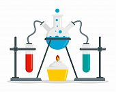 Chemical Flask On Stand Concept Background. Flat Illustration Of Chemical Flask On Stand Concept Bac poster