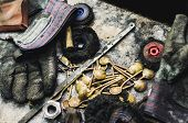 Top View Of Different Goldsmiths Tools On The Jewelry Workplace. Desktop For Craft Jewelry Making Wi poster