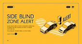 Side Blind Zone Alert Web Banner, Internet Site Template With Cars Moving In Traffic, One Near Other poster