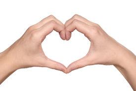 image of hand heart  - Woman hand making sign Heart isolated on white background - JPG