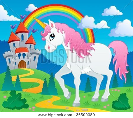 Fairy tale unicorn theme image 2 - vector illustration.