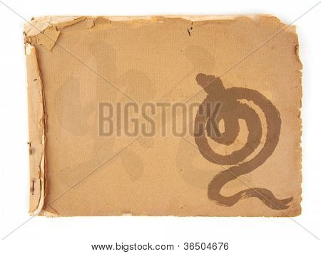 New Year Celebration Background with Chinese snake,antique cracked paper texture