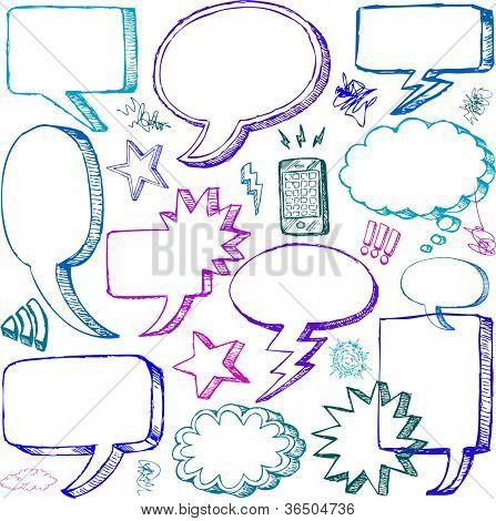 Set of Hand drawn vector Comical Speech Bubbles