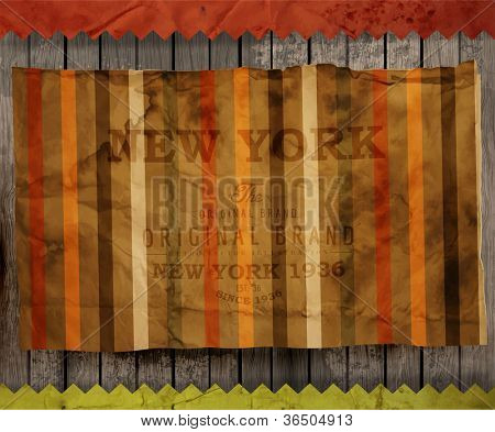 Scrap template, old paper texture with seamless ornament for invitation cards design | Vector illustration | Wood texture