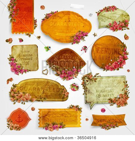 vector set: vintage labels with flowers, old paper texture
