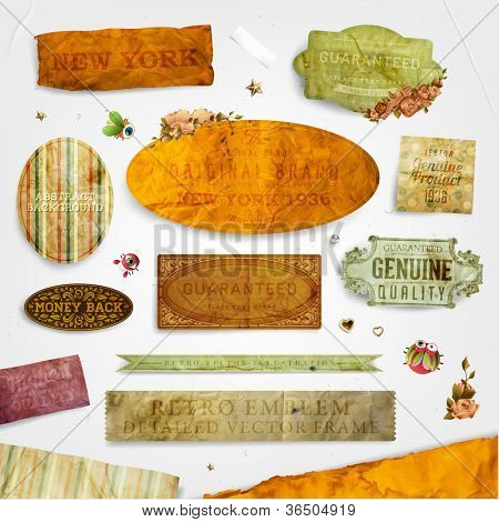 Set of vector retro ribbons, old dirty paper textures and vintage labels with flowers. Elements for invitation cards design.
