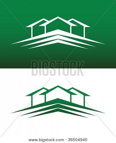 Casa abstrata ícone Vector no plano de fundo sólido e invertido.