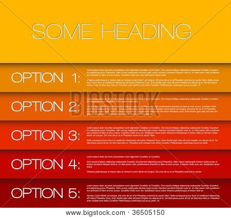 Vector Paper options background / product choice or versions from yellow to red