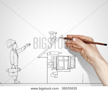 Blach and white drawing about construction business