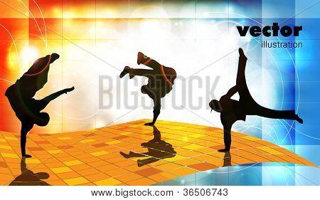 Vector illustration of breakdance