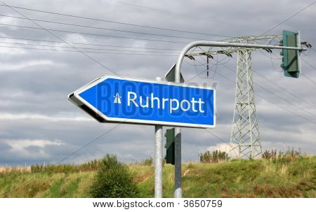 German Autobahn Direction Sign Ruhrpott (Ruhr Area, Also Called Revier Or Pott)