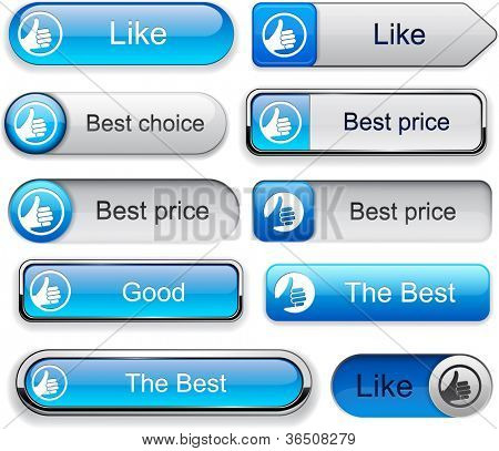 Thumb up blue web buttons for website or app. Vector eps10.
