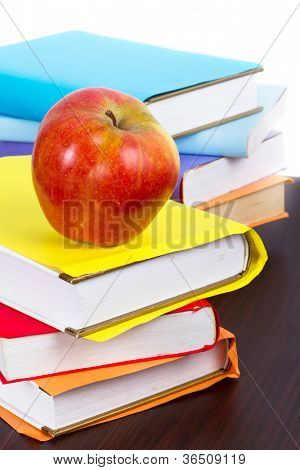Books and apple ready for back to school