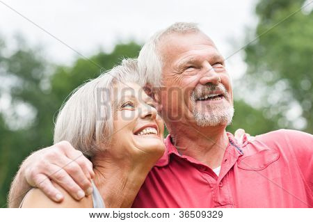 Happy and smiling senior couple in love