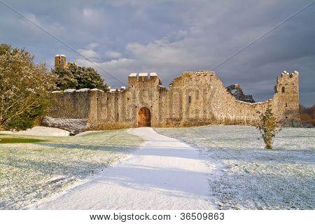 Irish ruins of the castle of Adare in winter scenery