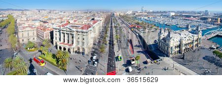Aerial panoramic Barcelona view Port Passeig Colon and Ramblas