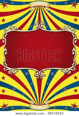 old circus paper. Circus background with an old red frame for your advertising.