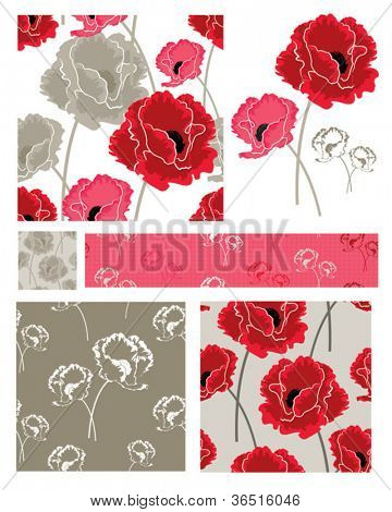 Pretty Poppy Flower Vector Seamless Patterns and icons.  Great for craft projects such as scrap booking, decoupage, card making or fabric items like cushions or quilt pieces.