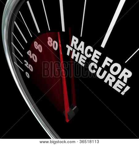 A black speedometer with white words Race for the Cure illustrating a fundrasier or charity walk or run to raise funds for medical research to fight an illness or disease such as cancer