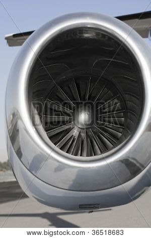 Close up of airplane turbojet