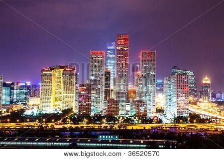 Peking nach Sonnenuntergang-Nachtaufnahme der CBD
