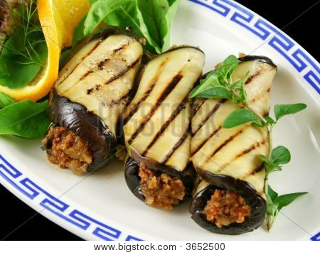 Aubergine And Beef Rolls