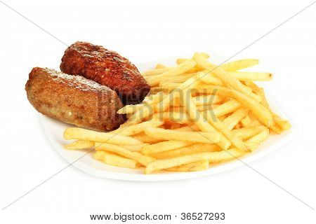 Potatoes fries with burgers in the plate isolated on white close-up