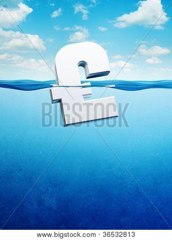 sinking pound symbol, 3d render