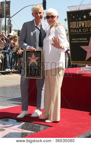 LOS ANGELES - SEP 4:  Ellen DeGeneres, Betty DeGeneres at the Hollywood Walk of Fame Ceremony for Ellen Degeneres at W Hollywood on September 4, 2012 in Los Angeles, CA