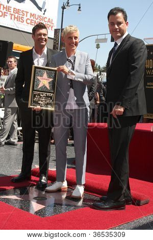 LOS ANGELES - SEP 4:  Ryan Seacrest, Ellen DeGeneres, Jimmy Kimmel at the Hollywood Walk of Fame Ceremony for Ellen Degeneres at W Hollywood on September 4, 2012 in Los Angeles, CA