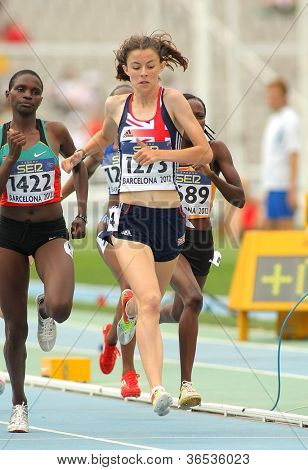 BARCELONA - JULY, 10: Jessica Judd of Great Britain during 800m event of the 20th World Junior Athletics Championships at the Olympic Stadium on July 10, 2012 in Barcelona, Spain