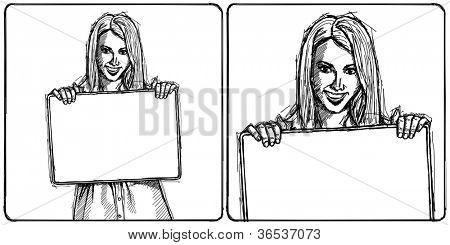 Sketch, comics style happy business woman holding blank white card in her hands