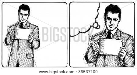Sketch, comics style man businessman in suit with i pad in his hands