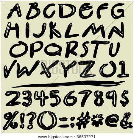 Art sketching set of vector abc font symbols