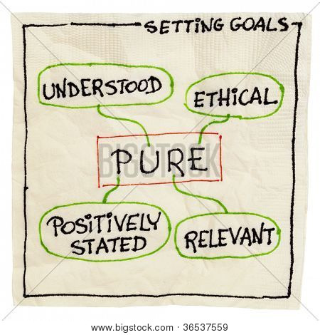 PURE (positively stated, understood, relevant, ethical) goal setting concept - a napkin doodle isolated on white
