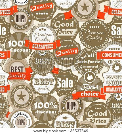 Seamless background of shopping Premium quality labels