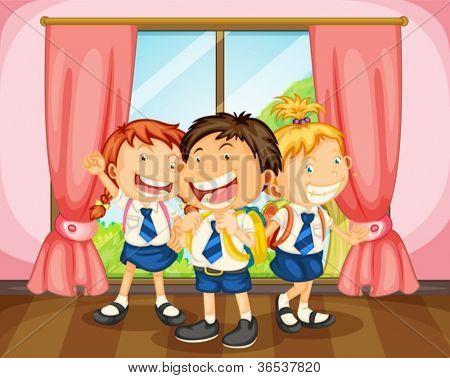 illustration of a kids in room near a window