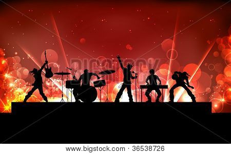 illustration of youth performing in rock band