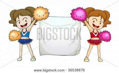 Illustration of cheerleaders with a sign