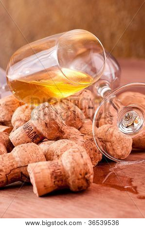 Champagne Corks And Spilled Champagne