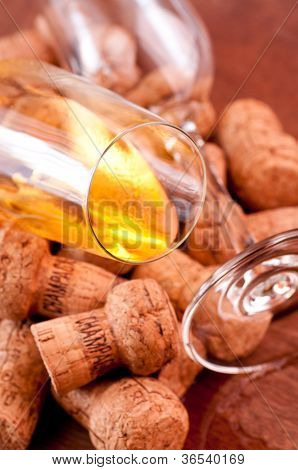 Corks Of Champagne Close Up