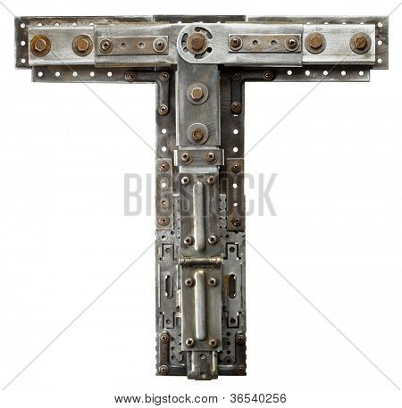 Industrial metal alphabet letter T